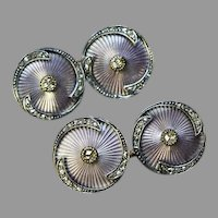 Rare Antique FABERGE Lilac Enamel Diamond Double Cufflinks