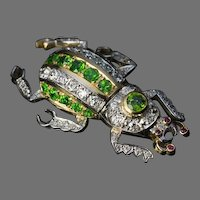 Vintage Russian Demantoid Diamond Beetle Brooch Pin