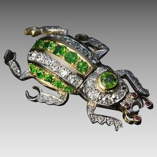 Vintage Russian Demantoid Diamond Beetle Brooch Pin