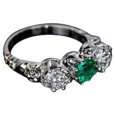 Vintage Emerald Diamond Platinum Three Stone Ring