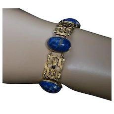 Belle Epoque Antique Lapis Lazuli Openwork Gold Bracelet - Art Nouveau Jewelry