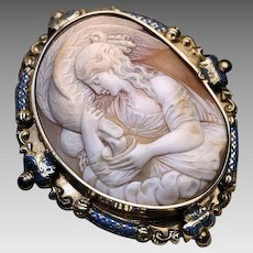 Antique Mid 19th Century French Shell Cameo Gold Brooch