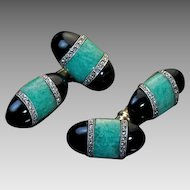 Stylish Art Deco Amazonite Onyx Diamond Cufflinks