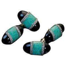 Stylish Art Deco Amazonite Onyx Diamond Cufflinks