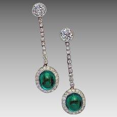 Art Deco Vintage Cabochon Cut Emerald Old European Diamond Platinum Dangle Earrings