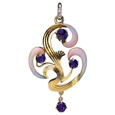 Art Nouveau Antique Russian Amethyst Enamel Gold Pendant