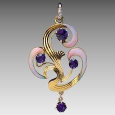 Art Nouveau Antique Russian Amethyst Enamel Gold Pendant