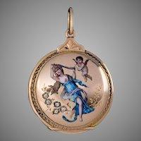 Belle Epoque Antique Swiss Enamel 18K Gold Locket Pendant