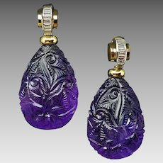 Rare Art Deco Carved Amethyst Baguette Diamond 18K Gold Drop Earrings