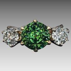 Rare Russian 1.96 Ct Demantoid Garnet Diamond 14 Kt Gold Three Stone Engagement Ring
