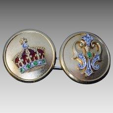 Rare Antique Royal Bulgarian 14K Gold Platinum Enamel Demantoid Diamond Cufflinks
