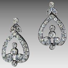 Antique Edwardian 2.70 Ct Diamond Silver 18K Gold Dangle Earrings