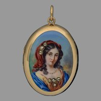 Antique 19th Century Italian Painted Enamel Miniature 14Kt Gold Locket Pendant - Victorian Necklace