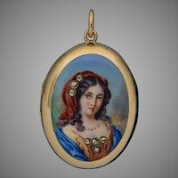 Antique 19th Century Italian Painted Enamel Miniature 14Kt Gold Locket Pendant - Victorian Necklace
