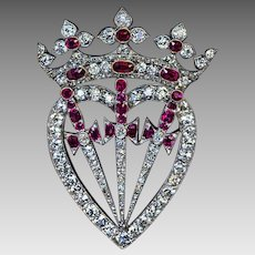 Antique Victorian Crowned Heart Diamond Ruby Symbolic Brooch Pendant