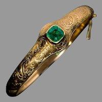 Antique Victorian Emerald Engraved 14Kt Gold Bangle Bracelet