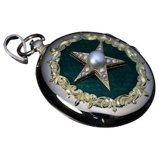 Large Antique Victorian Pearl Star Locket Pendant With Armorials