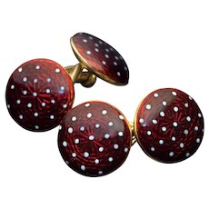 Antique Red Guilloche Enamel 18K Gold Double Cufflinks
