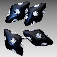 Vintage Art Deco Black Onyx Diamond Platinum 18K Gold Cufflinks