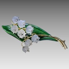 Vintage Austrian Carved Rock Crystal Nephrite Jade Lily Of The Valley 18K Gold DIamond Brooch Pin