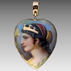Antique Victorian Cleopatra Enamel Diamond 18K Gold Locket Pendant