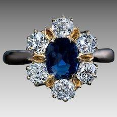 Antique Edwardian Era Sapphire Diamond 14K Gold Engagement Ring