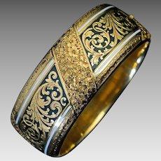 Exquisite Antique Victorian 19th Century Two Color Enamel Engraved 14K Gold Cuff Bracelet