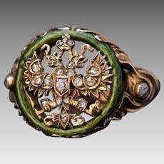 Antique Russian Imperial Eagle Rose Cut Diamond Guilloche Enamel Art Nouveau 14K Gold Ring