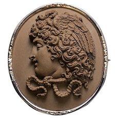 Antique Victorian Era Italian Carved Lava Cameo Medusa Gorgon 14K Gold Brooch Pin
