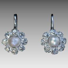 Vintage Pearl Diamond White 14K Gold Cluster Earrings