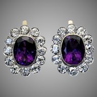 Large Antique Russian Amethyst Diamond Cluster Earrings