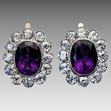 Large Antique Russian Amethyst Diamond Cluster Earrings
