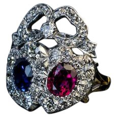 Antique Double Heart Sapphire Ruby Diamond Ring