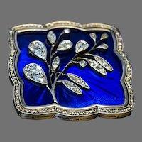 Art Nouveau Antique Russian Diamond Guilloche Enamel Brooch