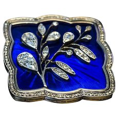Art Nouveau Antique Russian Diamond Guilloche Enamel Brooch