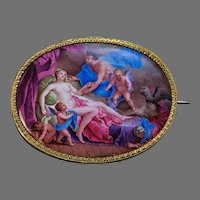Antique Georgian Era Painted Enamel Gold Brooch