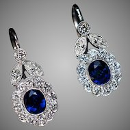 Vintage Sapphire Diamond White 14K Gold Dangle Earrings