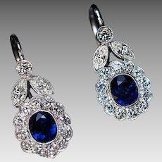 Vintage Sapphire Diamond White 14K Gold Dangle Earrings