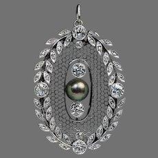Belle Epoque Antique Pearl Diamond Platinum Pendant