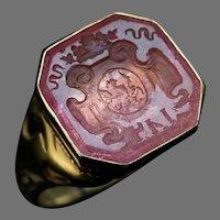 Rare Antique Russian Tourmaline Intaglio 14K Gold Signet Ring