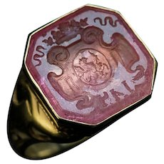 Rare Antique Russian Tourmaline Intaglio 14K Gold Signet Ring