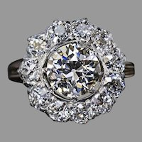 Antique 19th Century Russian 3 Ct Diamond Engagement Ring