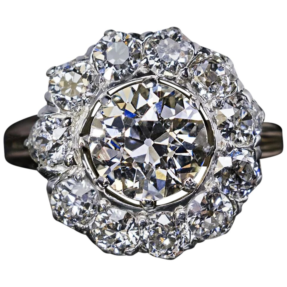 Details about  /1.75 ct Center Three Stone Ring Top Russian Vintage CZ Moissanite Simulant Sz 8