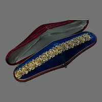 Antique French Art Nouveau Floral Design 18K Gold Bracelet