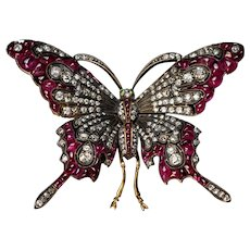 Vintage Diamond And Ruby Large Butterfly Brooch Pin