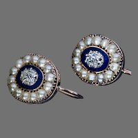 Georgian Era Antique Diamond Enamel Pearl Earrings