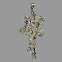 Large Art Nouveau Antique Russian Demantoid Garnet 14K Gold Pendant