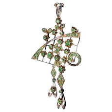 Large Art Nouveau Antique Russian Demantoid Garnet 14K Gold Pendant