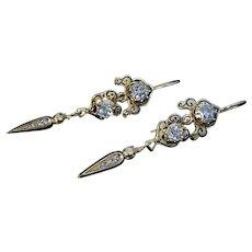 Antique Georgian Rose Cut Diamond Enamel Gold Earrings