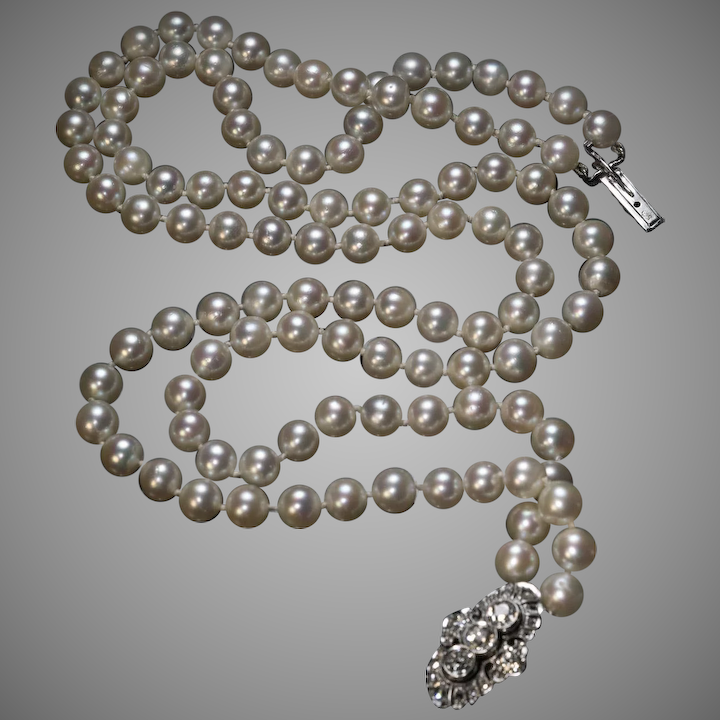 69cb5a6d9efb3 Vintage Double Strand Cultured Pearl Necklace With Diamond Clasp